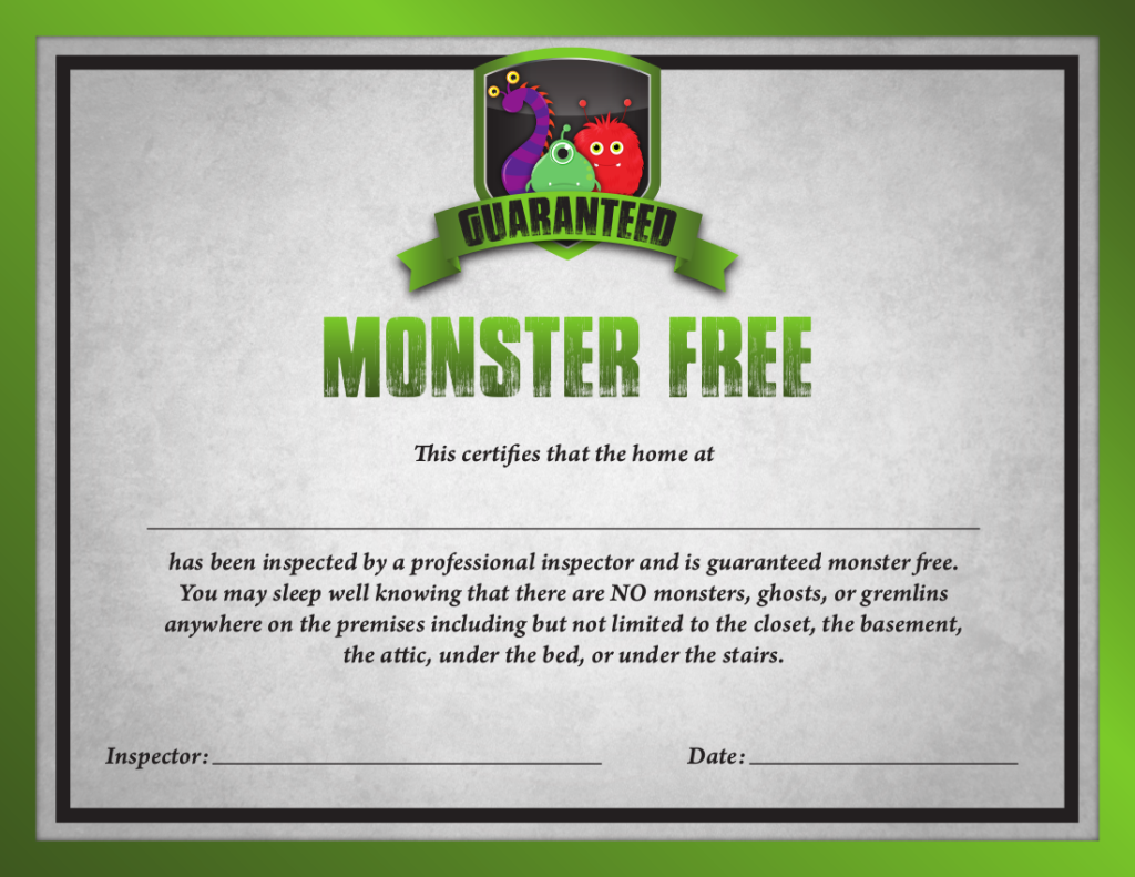 Saint Louis Home Inspection Monster Free Guarantee Certificate